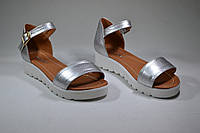 Босоножки кожаные серебренный флотар, фото 1