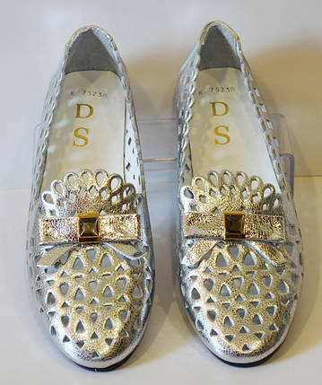 Балетки серебристые DS , фото 2