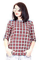 Рубашка крупная клетка 399, рубашка в клетку женская, женская летняя рубашка, дропшиппинг украина