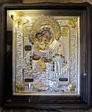 Икона в серебряной ризе Почаевская Божья Матерь 40*35 см, фото 3