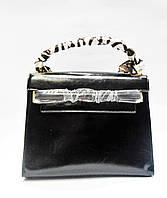 Сумка женская черная с платком прямоугольная