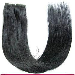 Волосы на Лентах с Иммитацией Роста Волос 55-60 см 100 грамм, Черный №01