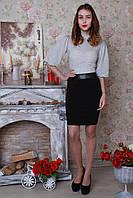 Модная юбка с кожаным поясом