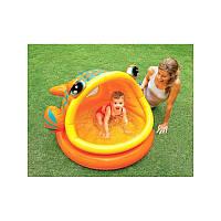 Детский надувной басейн рыбка Intex 57109 с навесом 124*109*71 см