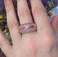 Серебряный комплект Ребека: серьги и кольцо с розовым улекситом 34519-34520, фото 2