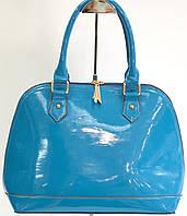 Качественная женская сумка из экокожи голубая