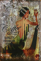 Ретро табличка металлический постер Coffe House