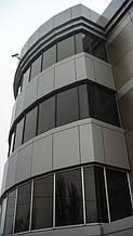 Вентилируемый фасад из композитного листа (с утеплением). Примыкание к стоечно-ригельной системе.