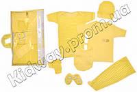 """Набор одежды 7 в 1 для новорожденного """"Мишка"""" желтый, Турция"""
