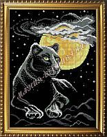 Схема для вышивания бисером Пантера на фоне луны