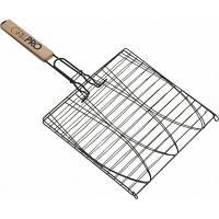Решетка для гриля и барбекю 65*40*36 см, рукоять из дерева, тройная конструкция, формы под рыбу