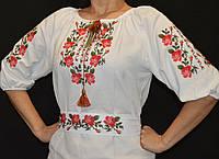 Женское национальное платье Красные розы с поясом