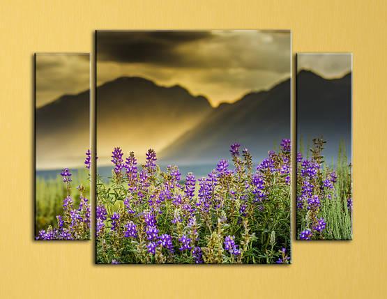 """Модульная картина """"Горные цветы"""", фото 2"""
