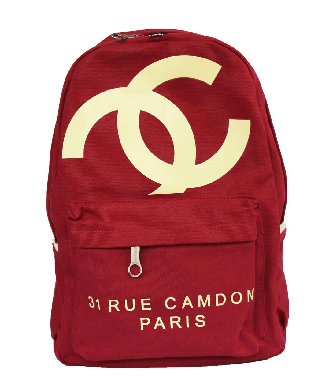 Оптом Коттоновый рюкзак с логотипом Шанель (Chanel) - красный - 201