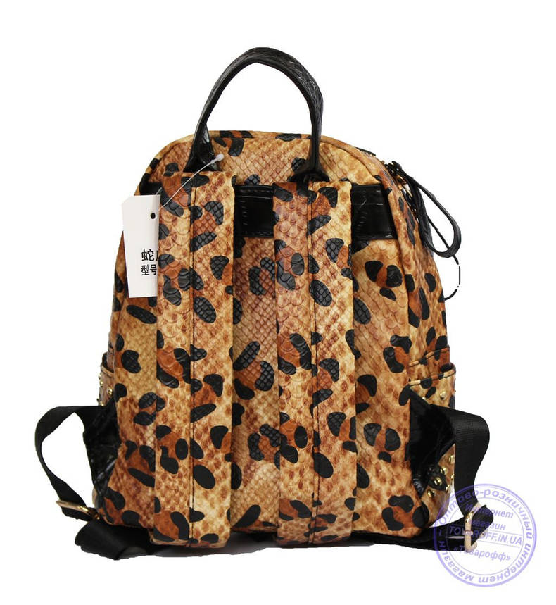Оптом Рюкзак с заклепками леопардовый из эко кожи - 519, фото 2