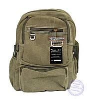 Оптом Котоновый рюкзак для подростков девочек и мальчиков - хаки - 1012