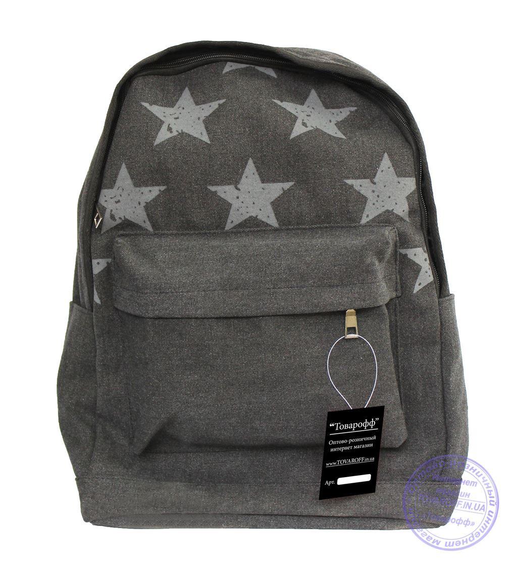 Оптом Котоновый рюкзак для подростков девочек и мальчиков - черный - 1013