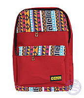 Оптом Тканевый рюкзак в этно стиле - красный - 4151