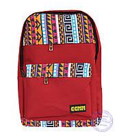 Оптом Тканевый рюкзак в этно стиле - красный - 4151, фото 1