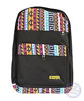 Оптом Тканевый рюкзак в этно стиле - черный - 4151