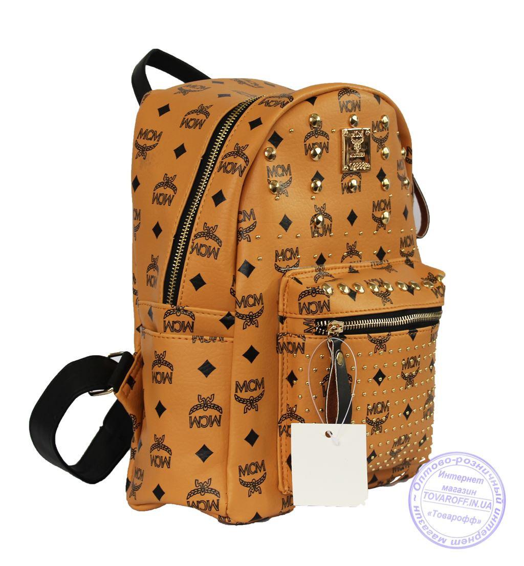 Оптом Рюкзак для девочки из эко-кожи - рыжий - 6638