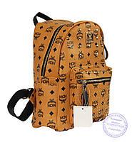 Оптом Рюкзак для девочки из эко-кожи - рыжий - 6638, фото 1