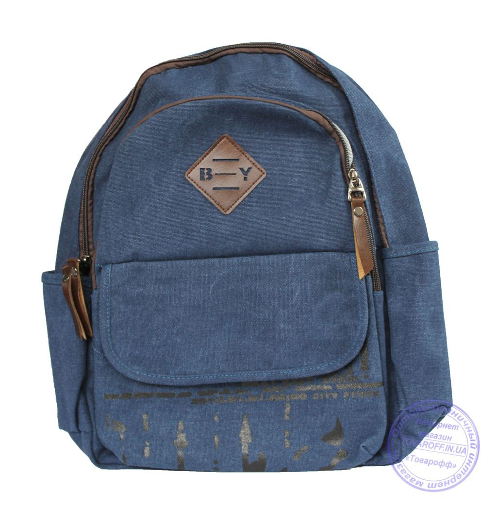 Оптом Рюкзак джинсовый для девочек и для мальчиков - синий - 7019