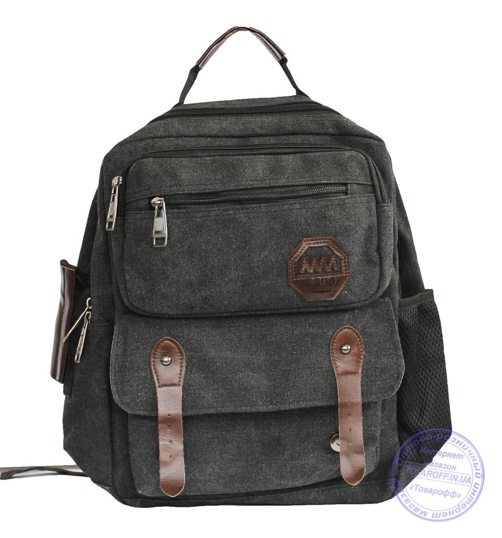 Оптом Матерчатый рюкзак - серый - 7121