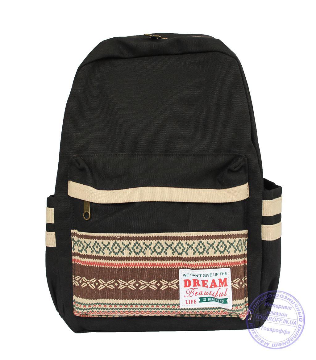 Оптом Школьный / городской рюкзак в этно стиле - черный - 7138