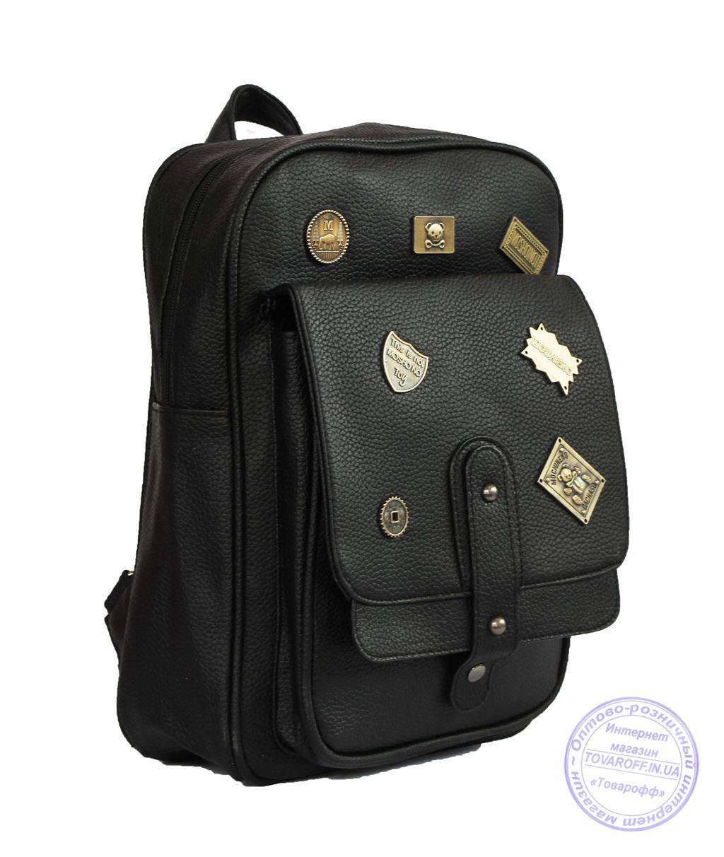 Оптом Рюкзак з еко-шкіри зі значками - чорний - 7126
