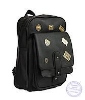 Оптом Рюкзак из эко-кожи со значками - черный - 7126, фото 1