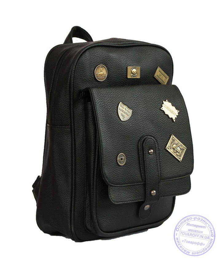 Оптом Рюкзак з еко-шкіри зі значками - чорний - 7126, фото 2