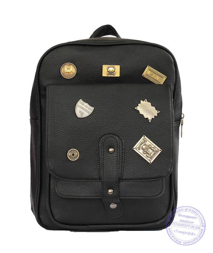 Оптом Рюкзак из эко-кожи со значками - черный - 7126, фото 2