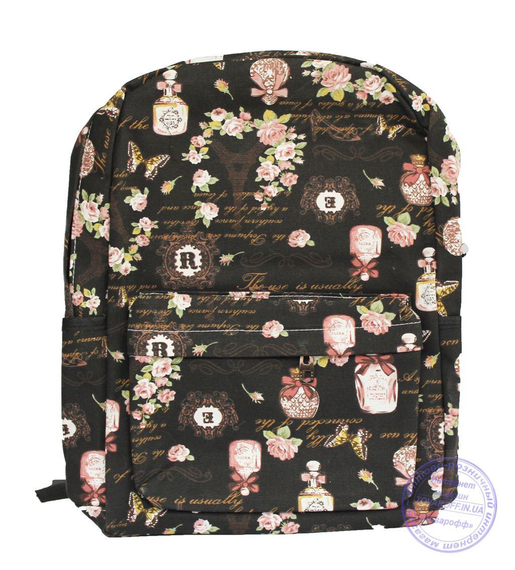 Оптом Тканевый рюкзак для девочки - черный - 7145
