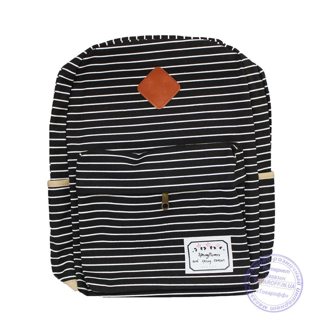Оптом Подростковый тканевый рюкзак в полоску - черный - 7155