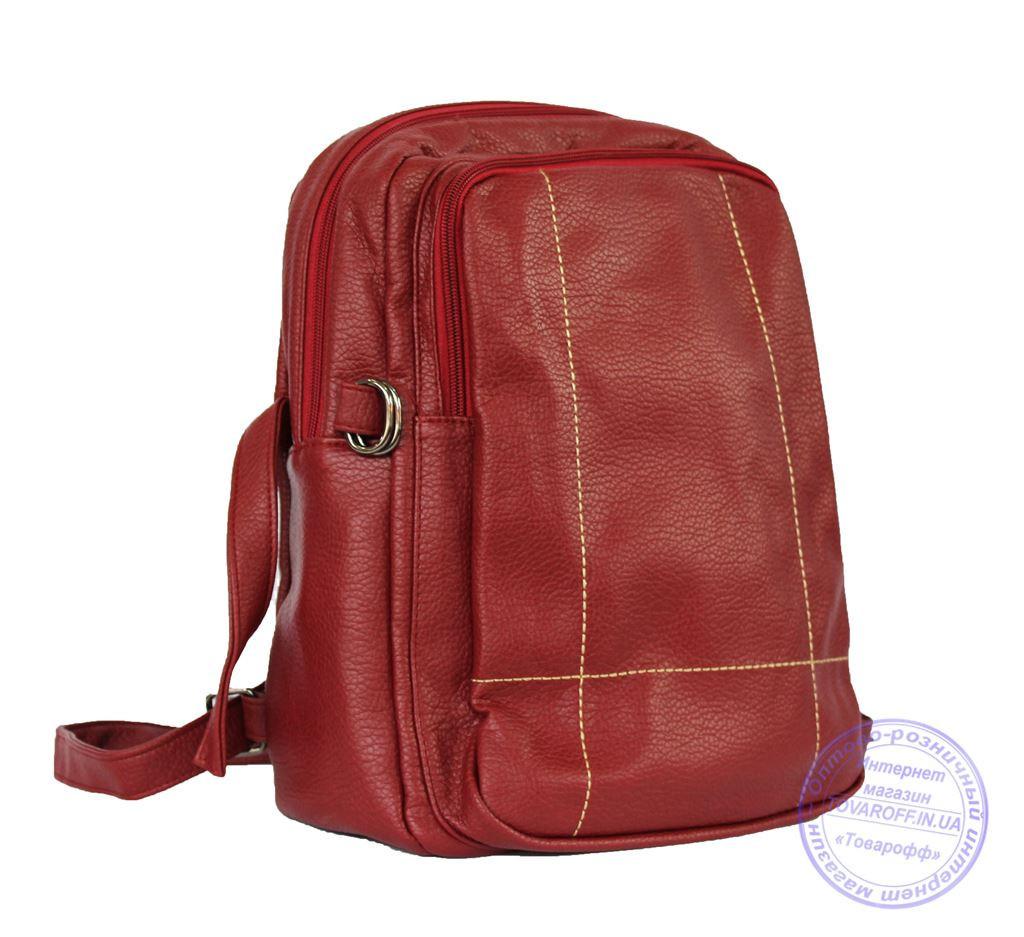 Оптом Рюкзак из кожзама - красный - 7217
