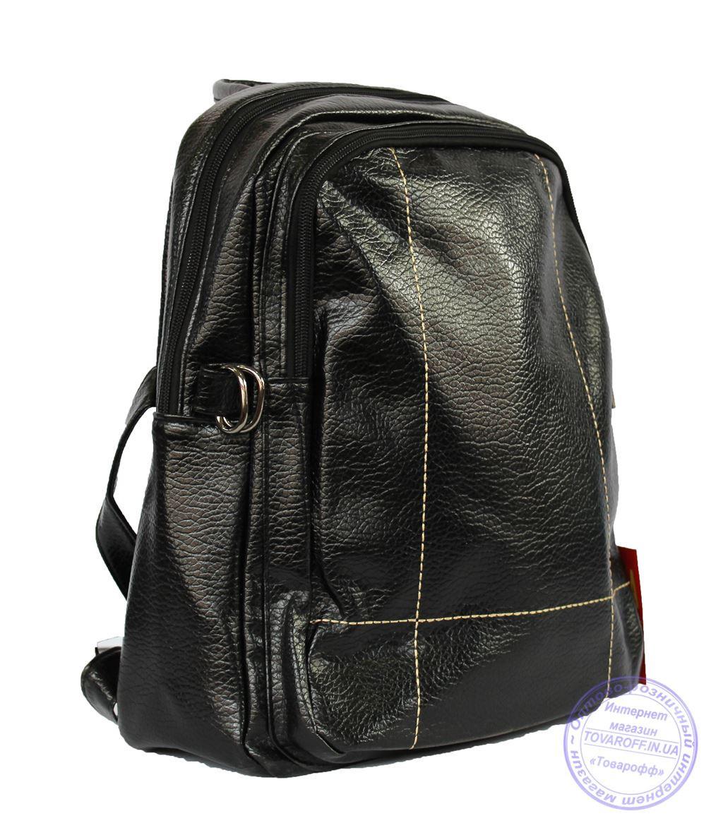 Оптом Рюкзак из кожзама - черный - 7217