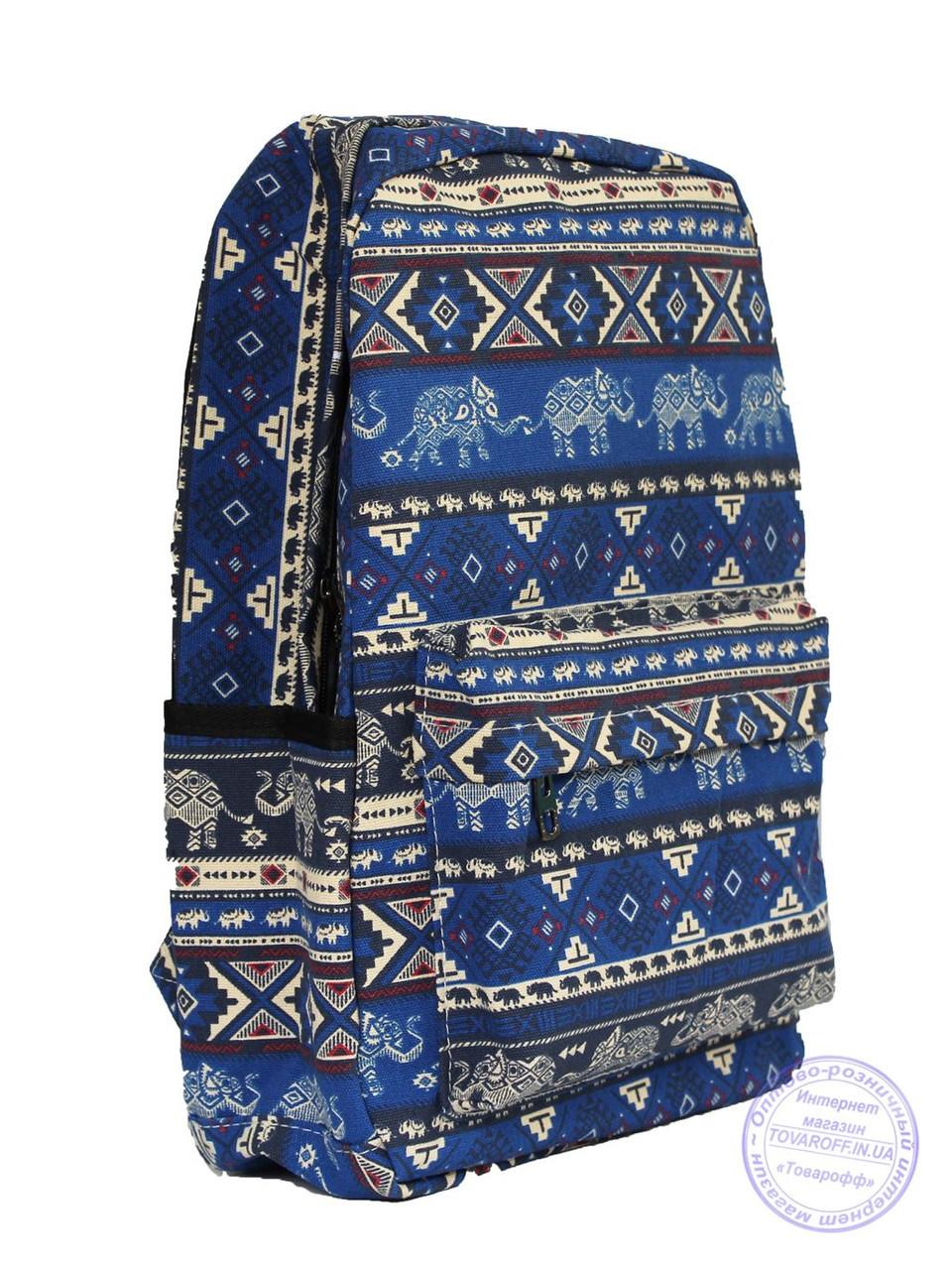 Оптом Этно рюкзак школьный / городской - синий - 7223