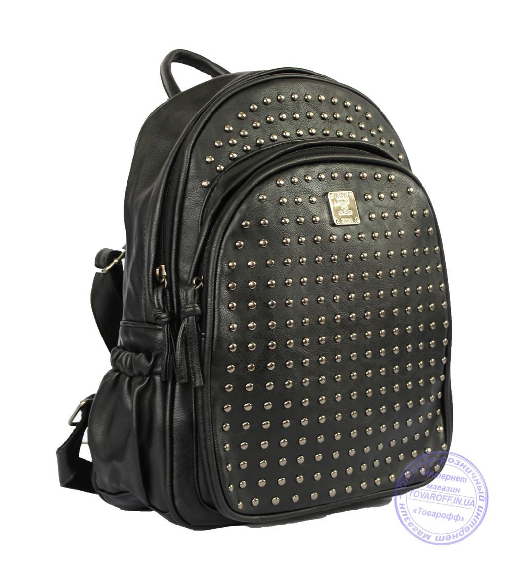 Оптом Рюкзак с шипами небольшого формата - черный - 7319