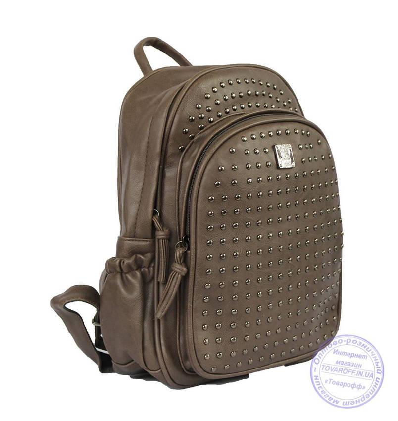 Оптом Рюкзак с шипами небольшого формата - коричневый - 7319, фото 2