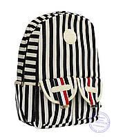 Оптом Стильный рюкзак в полоску для школы и прогулок - черно-белый - 8018, фото 1