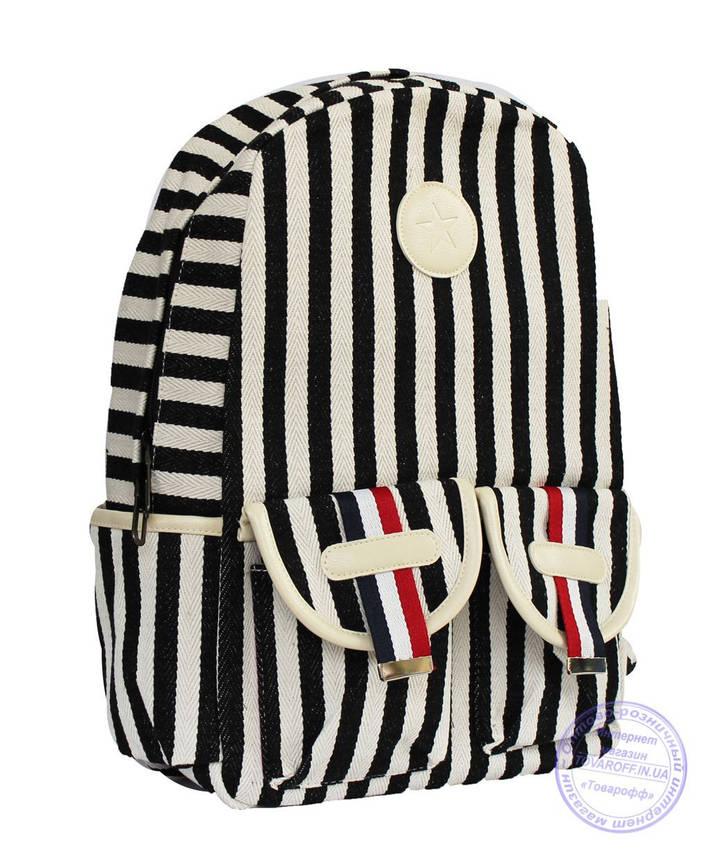 Оптом Стильный рюкзак в полоску для школы и прогулок - черно-белый - 8018, фото 2