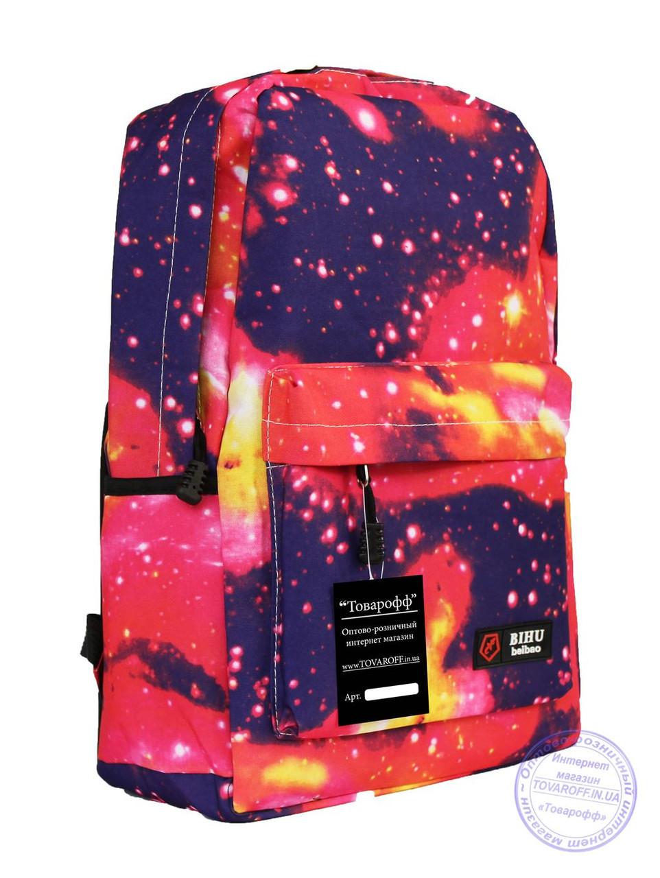 Оптом Универсальный рюкзак с космическим рисунком - красный - 8148
