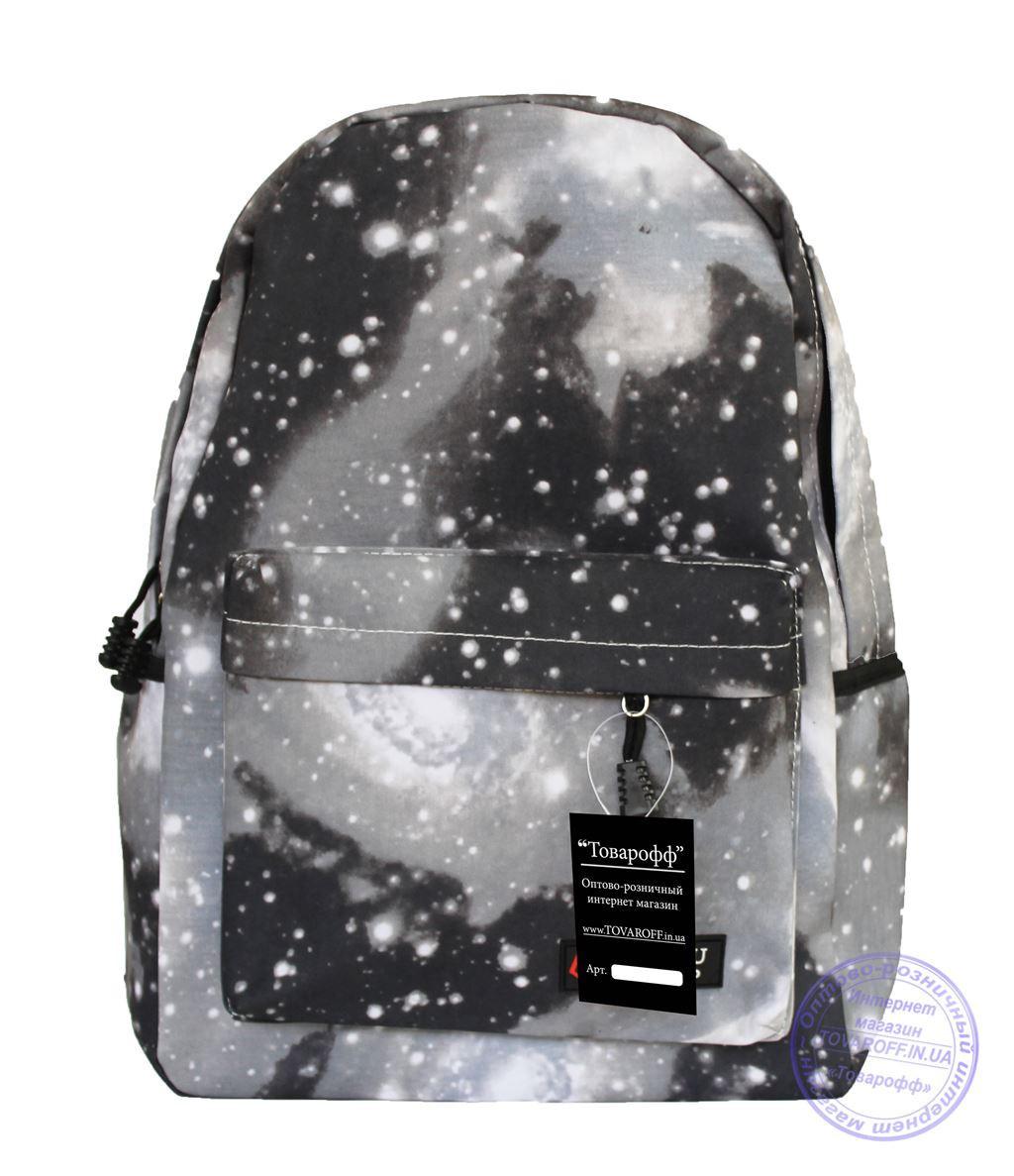 Оптом Универсальный рюкзак с космическим рисунком - серый - 8148