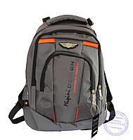 Оптом Универсальный прочный рюкзак для школы и прогулок - серый - Y-1