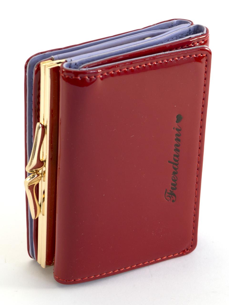 Красный лаковый женский кошелек на кнопке FUERDANNI art. 1092-1