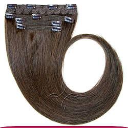 Натуральные Славянские Волосы на Заколках 45-50 см 115 грамм, Шоколад №03
