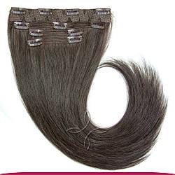 Натуральные Славянские Волосы на Заколках 55-60 см 115 грамм, Шоколад №02