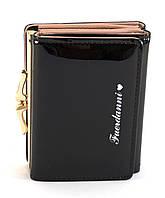 Черный лаковый горизонтальный женский кошелек на кнопке FUERDANNI art. 1092-1, фото 1