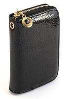 Черный лаковый горизонтальный женский кошелек на молнии Б/Н art. 42